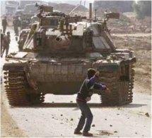 Seorang Anak Melempar Batu ke Tentara Israel (www.voltairenet.org)